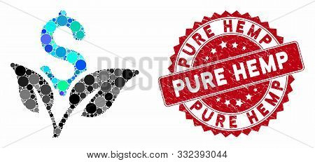 Mosaic Eco Business Startup And Grunge Stamp Seal With Pure Hemp Caption. Mosaic Vector Is Created W