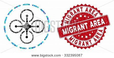 Mosaic Drone Flight And Rubber Stamp Seal With Migrant Area Caption. Mosaic Vector Is Designed With