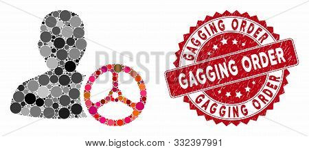 Mosaic Driver Person And Grunge Stamp Seal With Gagging Order Text. Mosaic Vector Is Designed With D