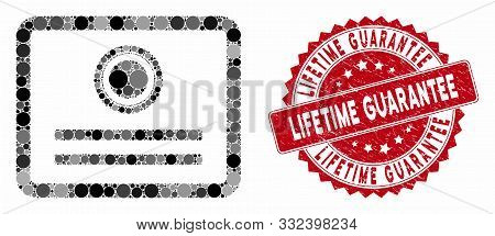 Mosaic Diploma And Corroded Stamp Seal With Lifetime Guarantee Phrase. Mosaic Vector Is Designed Wit