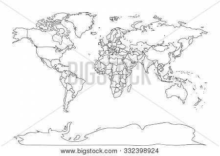Black Outline World Map. Flat Template For Banner, Poster, Web-site, Report, Infographic, Trendy Tat