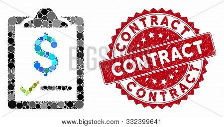 Collage Contract And Distressed Stamp Seal With Contract Caption. Mosaic Vector Is Formed With Contr