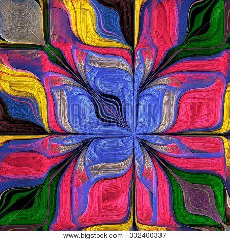Multicolored Abstract Stylized Flower. Modern Art. Artwork For Creative Design, Art And Entertainmen