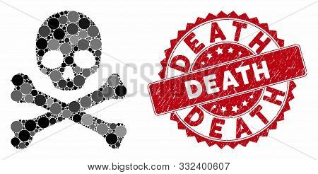 Mosaic Death And Corroded Stamp Watermark With Death Caption. Mosaic Vector Is Designed With Death I