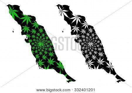 Bushehr Province (provinces Of Iran, Islamic Republic Of Iran, Persia) Map Is Designed Cannabis Leaf