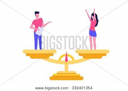 Gender Equality, Equal Pay And Opportunity Isometric Concept With Man And Woman On Scale. Vector Ill