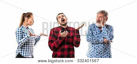 Family Members Arguing With One Another On White Studio Background. Concept Of Human Emotions, Expre
