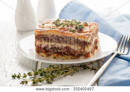Lasagna With Zucchini. A Hot Dish Of Chopped Meat And Vegetables With A Thick Sauce And Cheese. Keto