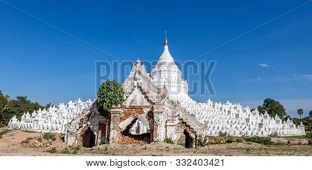 The White Pagoda Of Hsinbyume With Gate (mya Thein Dan Pagoda ). Version 2.