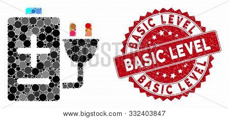 Mosaic Battery Charge And Rubber Stamp Seal With Basic Level Caption. Mosaic Vector Is Formed With B