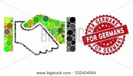 Mosaic Acquisition Handshake And Rubber Stamp Seal With For Germans Phrase. Mosaic Vector Is Compose