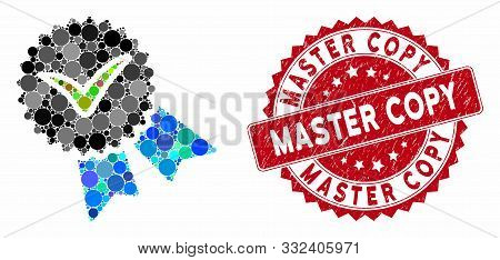 Mosaic Quality Badge And Rubber Stamp Seal With Master Copy Text. Mosaic Vector Is Created From Qual