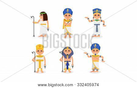 Queens And Pharaohs Of Ancient Egypt In Different Poses Vector Illustration Set Isolated On White Ba