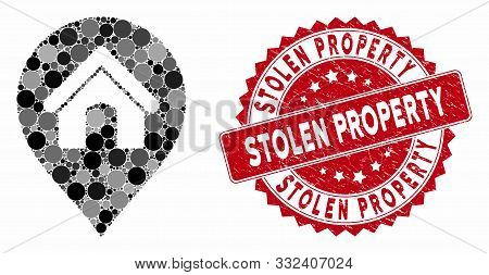 Mosaic House Marker And Corroded Stamp Seal With Stolen Property Caption. Mosaic Vector Is Formed Wi