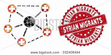 Collage Medical Network Structure And Corroded Stamp Seal With Syrian Migrants Caption. Mosaic Vecto