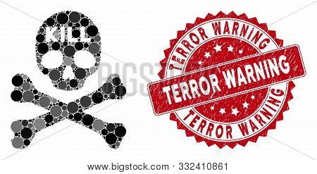 Mosaic Kill Death And Distressed Stamp Seal With Terror Warning Text. Mosaic Vector Is Composed With
