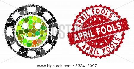 Mosaic Glad Casino Chip And Rubber Stamp Watermark With April Fools Phrase. Mosaic Vector Is Formed
