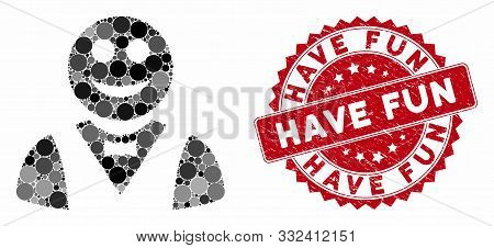 Mosaic Glad Waiter And Distressed Stamp Watermark With Have Fun Caption. Mosaic Vector Is Composed W