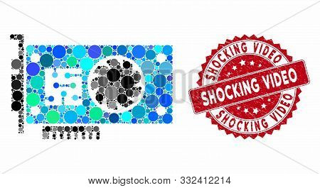 Mosaic Gpu Accelerator Card And Grunge Stamp Watermark With Shocking Video Text. Mosaic Vector Is Co