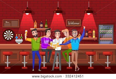 Smiling Groom Hugging Friends, Men Drinking Beer In Pub. Males Celebration Bachelor Party, Laughing
