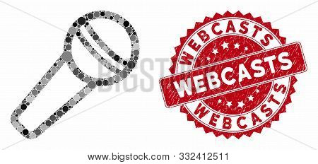 Mosaic Microphone And Grunge Stamp Seal With Webcasts Phrase. Mosaic Vector Is Designed With Microph