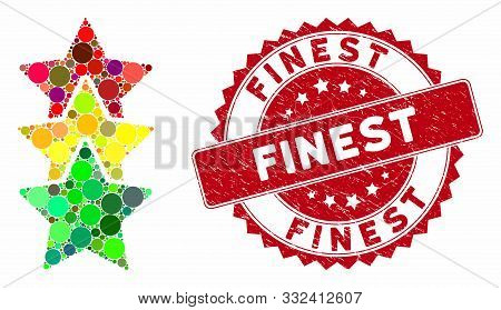 Mosaic Rating Stars And Corroded Stamp Seal With Finest Phrase. Mosaic Vector Is Designed With Ratin