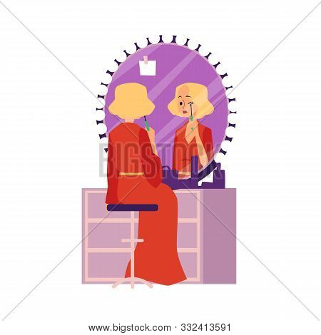 Actress Woman Preparing For Performance, Flat Vector Illustration Isolated.