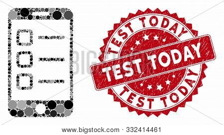 Mosaic Mobile List And Distressed Stamp Watermark With Test Today Text. Mosaic Vector Is Created Wit