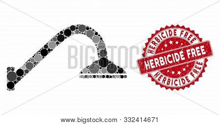 Mosaic Shower Pipe And Distressed Stamp Seal With Herbicide Free Text. Mosaic Vector Is Formed With