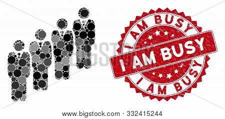 Mosaic Queue And Grunge Stamp Watermark With I Am Busy Caption. Mosaic Vector Is Formed With Queue I