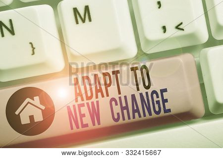 Conceptual hand writing showing Adapt To New Change. Business photo text Get Used to Latest Mindset and Behavior Innovation. poster