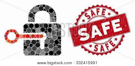 Mosaic Secrecy And Rubber Stamp Seal With Safe Text. Mosaic Vector Is Composed With Secrecy Icon And