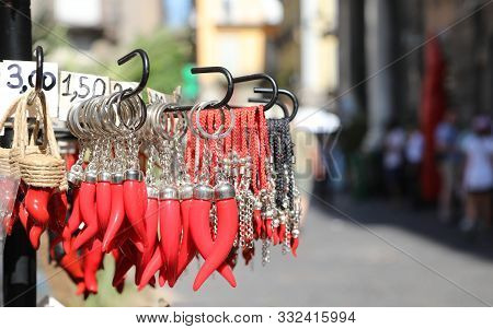 Many Red Cornet As Amulets For Sale At Spaccanapoli Street In The Naples City In Italy