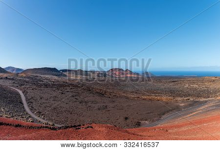 Colorful Volcanic Landscape At Timanfaya National Park, Montanas Del Fuego, On Lanzarote, Canary Isl
