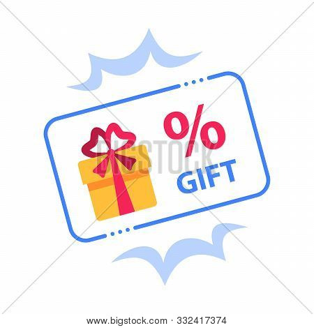 Prize Giveaway, Loyalty Card, Present Box, Percentage Sign And Gift Certificate, Incentive Or Perks,