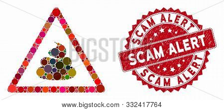 Mosaic Shit Warning And Grunge Stamp Seal With Scam Alert Text. Mosaic Vector Is Formed With Shit Wa