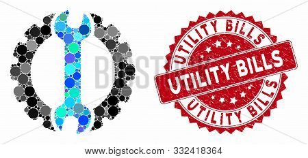 Mosaic Options And Grunge Stamp Seal With Utility Bills Caption. Mosaic Vector Is Created With Optio