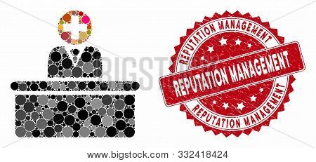Mosaic Medical Bureaucrat And Corroded Stamp Watermark With Reputation Management Phrase. Mosaic Vec