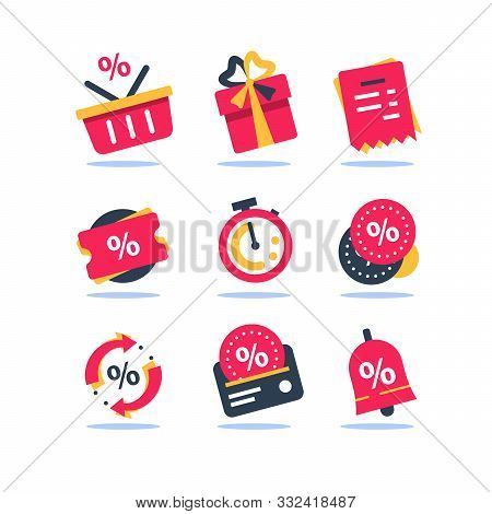 Loyalty Card, Incentive Program Vector Icon Set, Earn Bonus Points For Purchase, Discount Coupon, Li