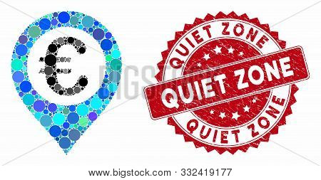 Mosaic Euro Pushpin And Corroded Stamp Seal With Quiet Zone Text. Mosaic Vector Is Designed With Eur
