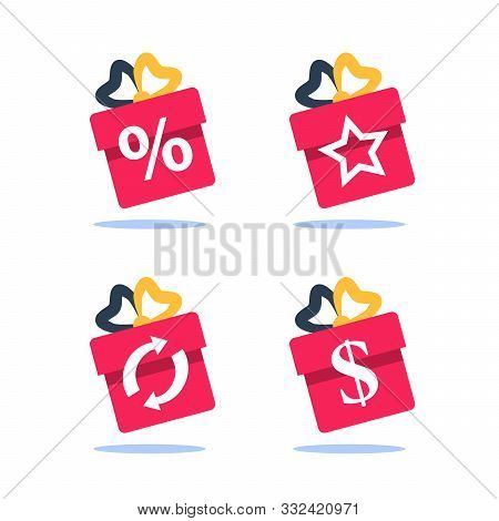 Gift Box, Loyalty Program, Earn Points, Win Present, Redeem Bonus, Giveaway Concept, Vector Flat Ico