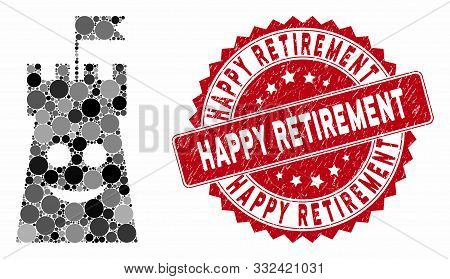 Collage Happy Bulwark Tower And Grunge Stamp Seal With Happy Retirement Caption. Mosaic Vector Is Co