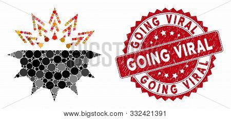 Mosaic Viral Structure And Distressed Stamp Seal With Going Viral Caption. Mosaic Vector Is Formed W