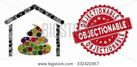 Mosaic Shit Storage Hangar And Distressed Stamp Watermark With Objectionable Phrase. Mosaic Vector I