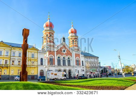Pilsen, Czech Republic - Oct 28, 2019: The Great Synagogue In Plzen, The Second Largest Synagogue In