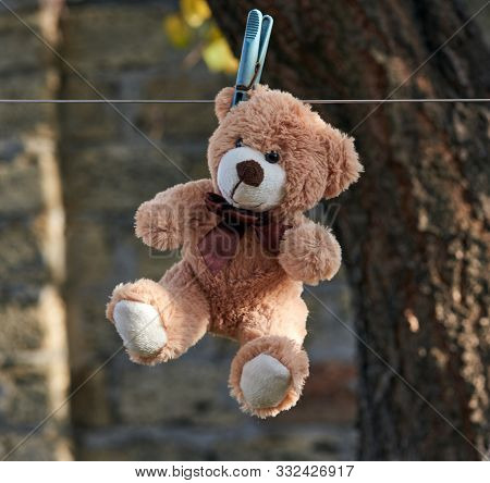 Old Teddy Bear Hanging On A Clothesline, Autumn Day