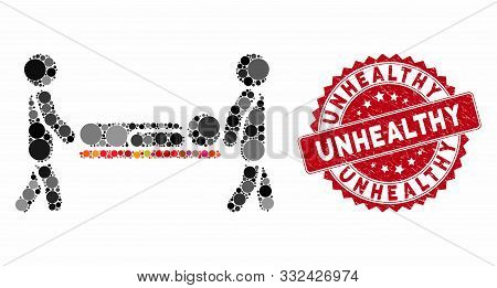 Mosaic Patient Stretcher And Corroded Stamp Seal With Unhealthy Text. Mosaic Vector Is Composed With
