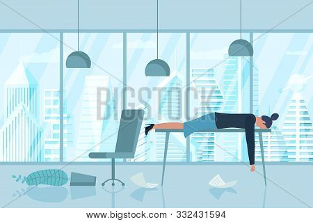 Professional Burnout Syndrome. Exhausted Sick Tired Female Manager In Office Sad Boring Lies With He