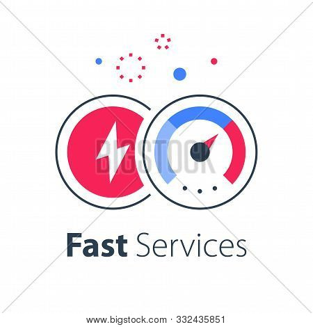 Express Services, Fast Solution, Business Acceleration, Maximum Level On Speedometer, Efficiency Con