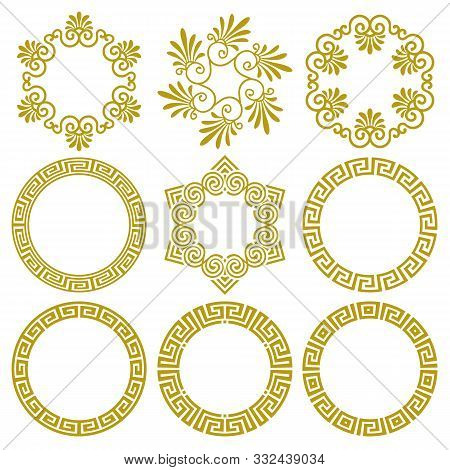 Vector Set Of Round Gold Frames In Traditional And Modern Greek Style Isolated On White Background.